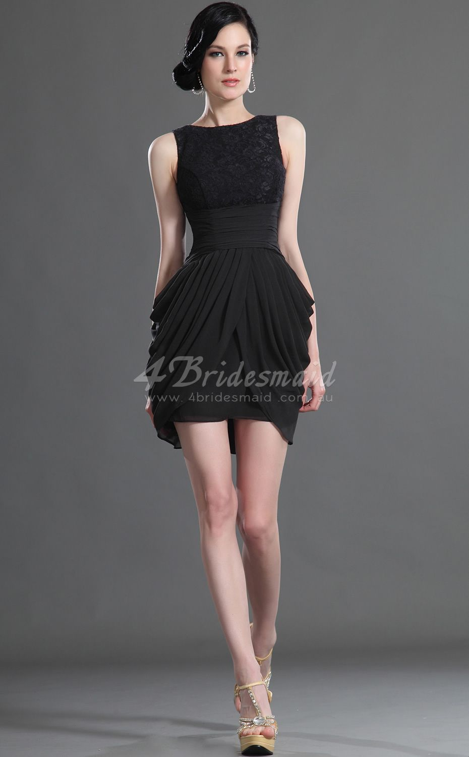 Sheathcolumn jewel neck shortmini black lace bridesmaid dresses