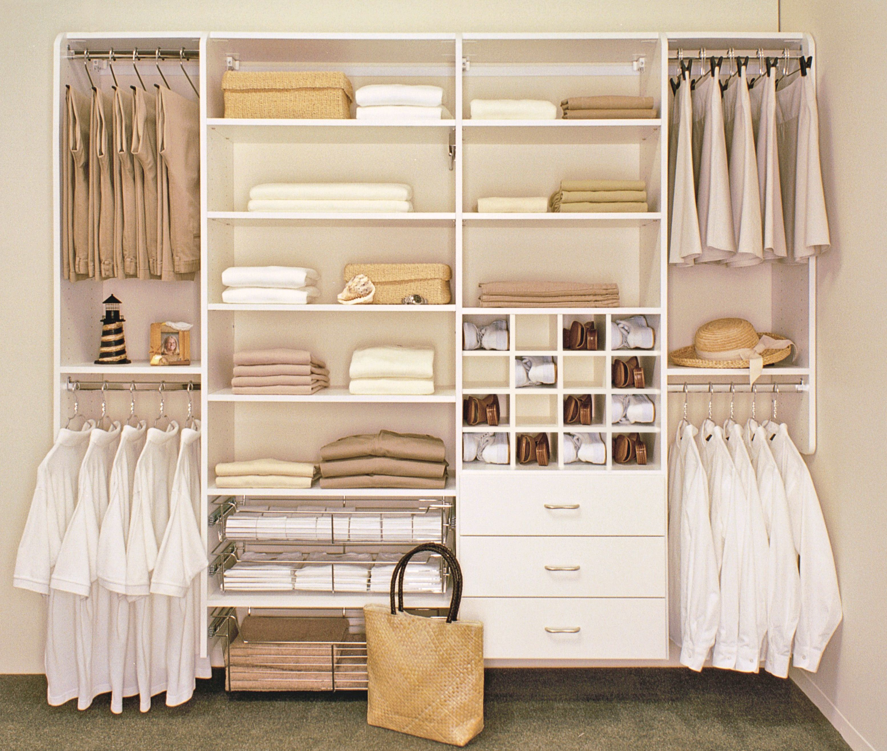 Furniture White Wooden Closet With Drawers And Racks Also Stainless Steel  Cloth Hooks Completed By Cube