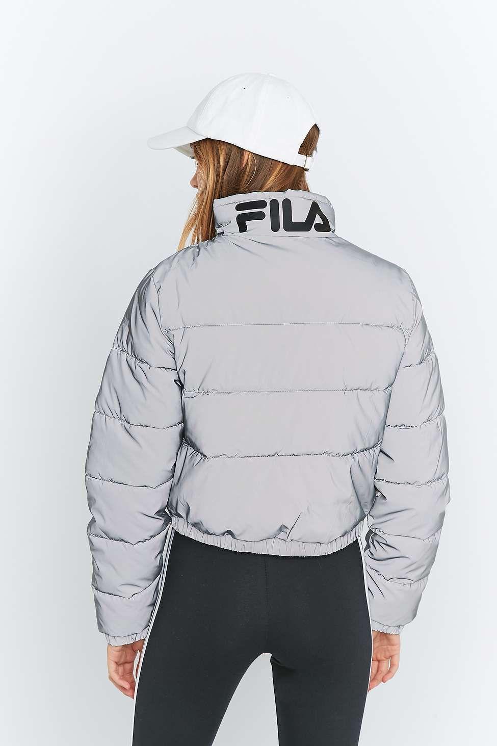 Reflective Cropped Fila Puffer Exclusive Toto Silver Uo FKclu13TJ