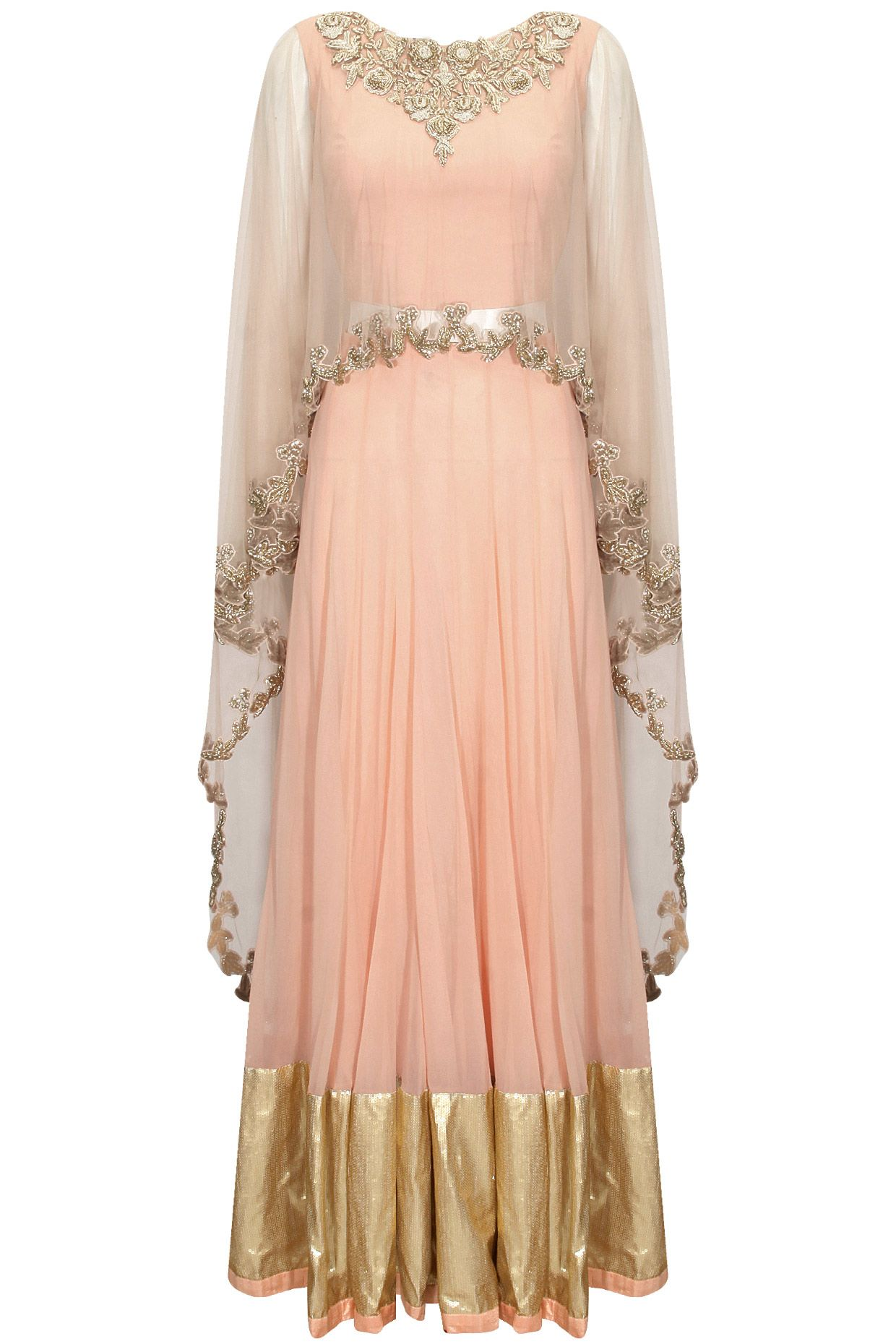 Pink Embroidered Asymmetric Cape Blouse With Gold Border