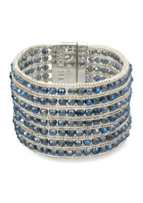 Kenneth Cole Blue Silver-Tone Woven Faceted Bead Bracelet