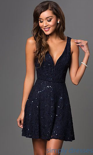 Short Lace Navy Blue Dress With Sequin Accents Short Dresses