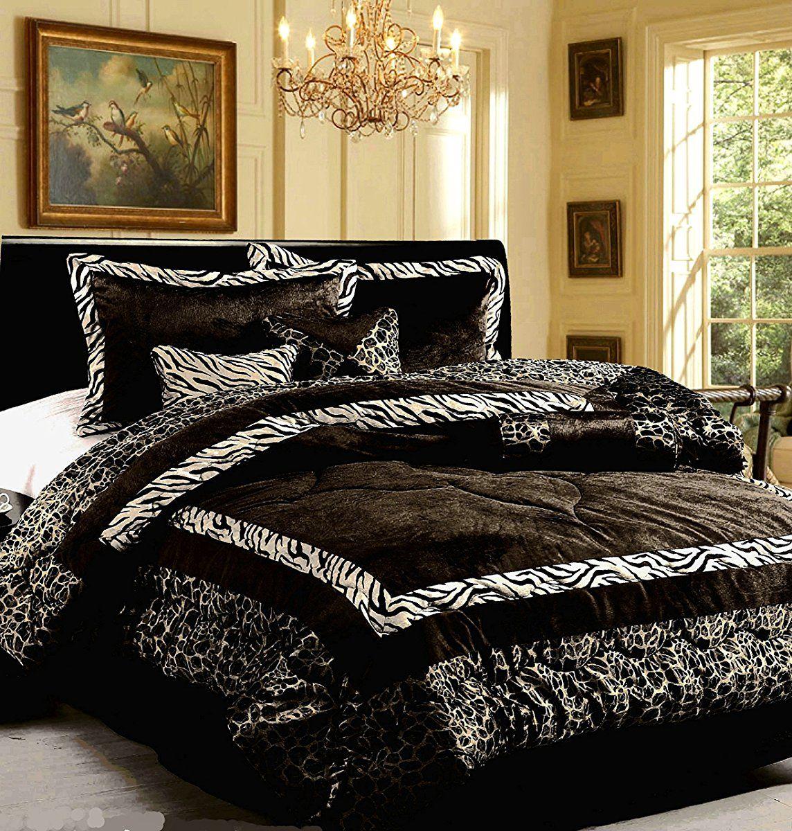 Dovedote Safarina Zebra Animal Print Comforter Set Queen Black