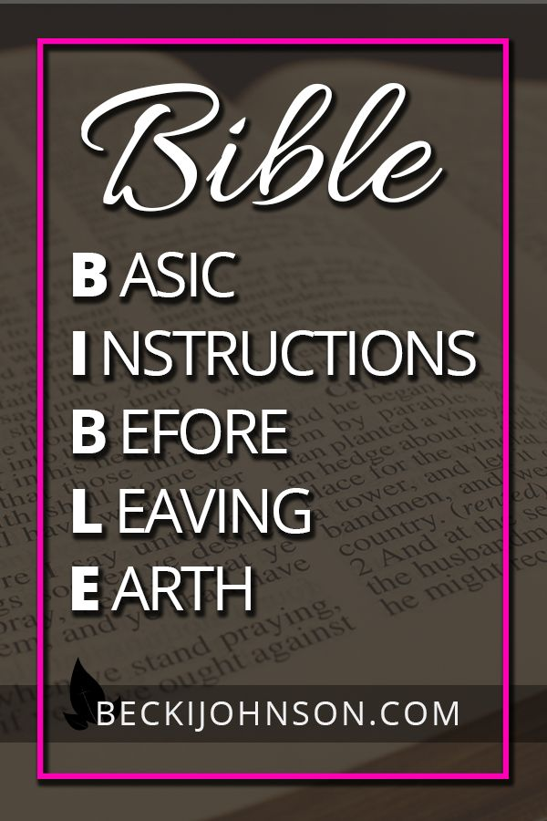 Bible Basic Instructions Before Leaving Earth Becki Johnson