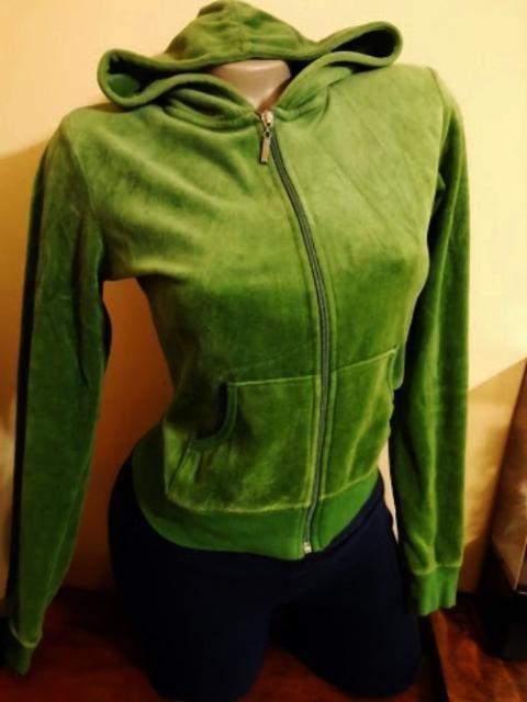 M, Green Junior Velour Hoodie
