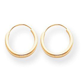 Se183 Endless Hoop Earrings 14k Yellow Gold Small S Size Baby Children Hypoallergenic Jewelry