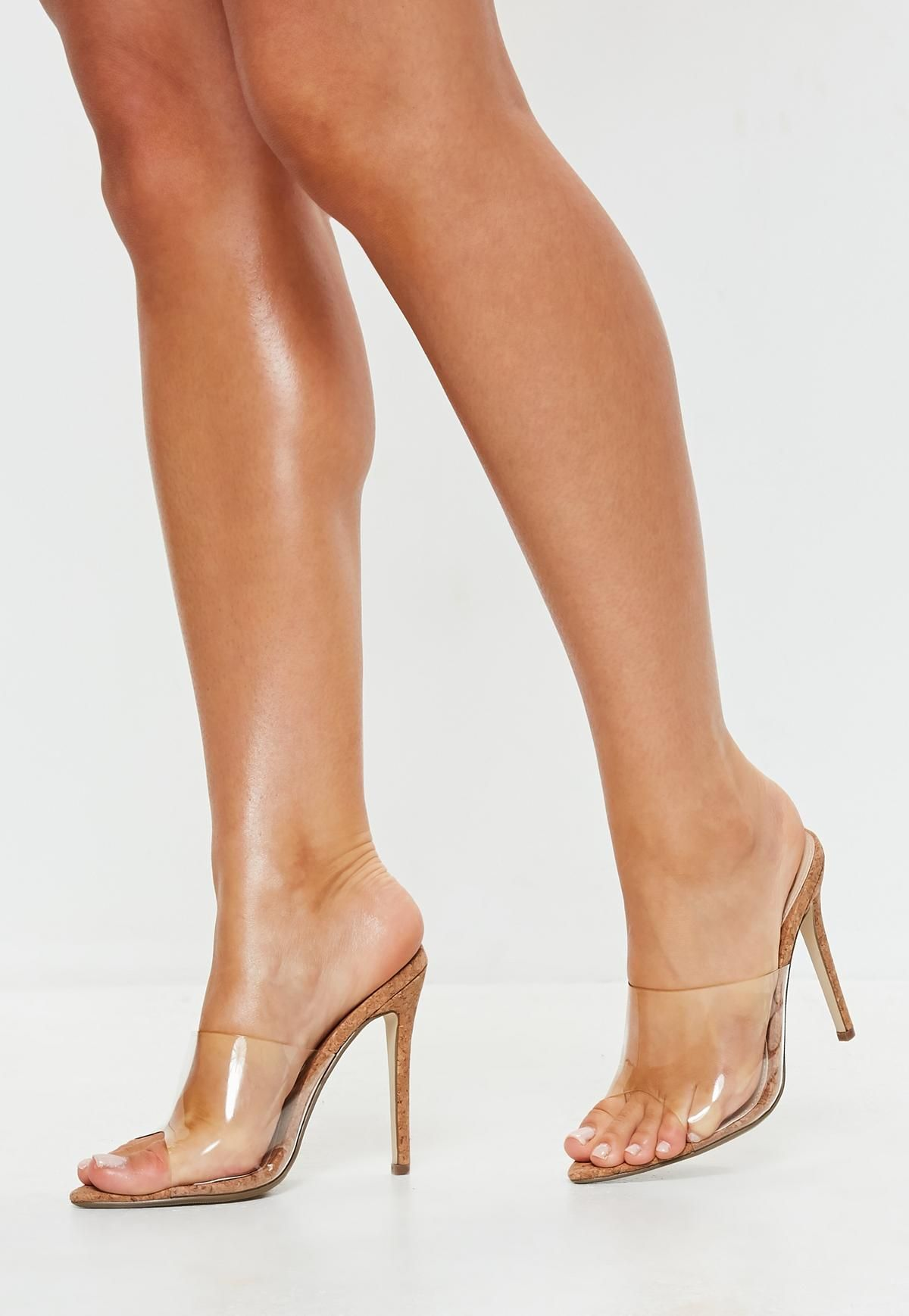 3c79b1f029e4f8 Missguided Brown Cork Clear Pointed Toe Heeled Mules