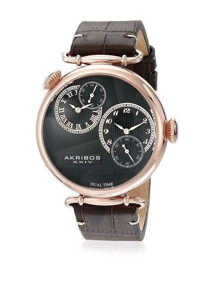 77a795d76560 Akribos XXIV Reloj con movimiento cuarzo japonés Man AK796RG Marrón 46 mm  en Amazon BuyVIP