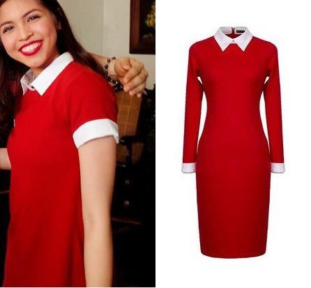 Red white collar dress.