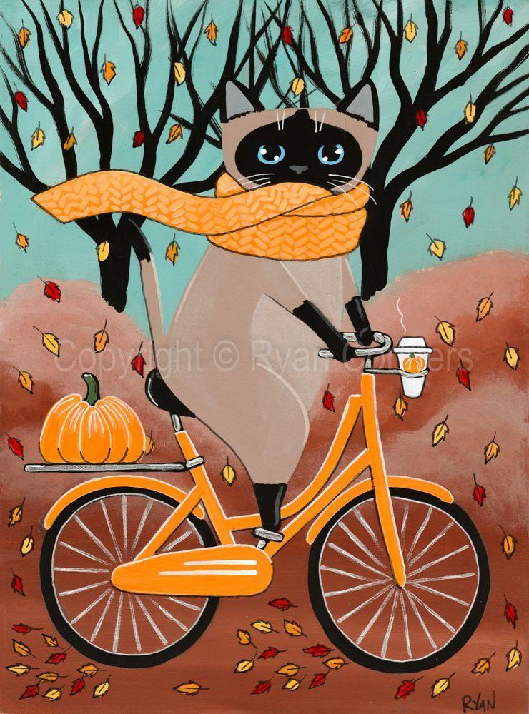 Siamese Cat Halloween Bicycle Ride Cat Original Cat Folk Art Painting by KilkennyCat Art, $85.00 USD Copyright © Ryan Conners #pumpkin carving ideas bicycle Siamese Cat Halloween Bicycle Ride Cat Original Cat Folk Art Painting