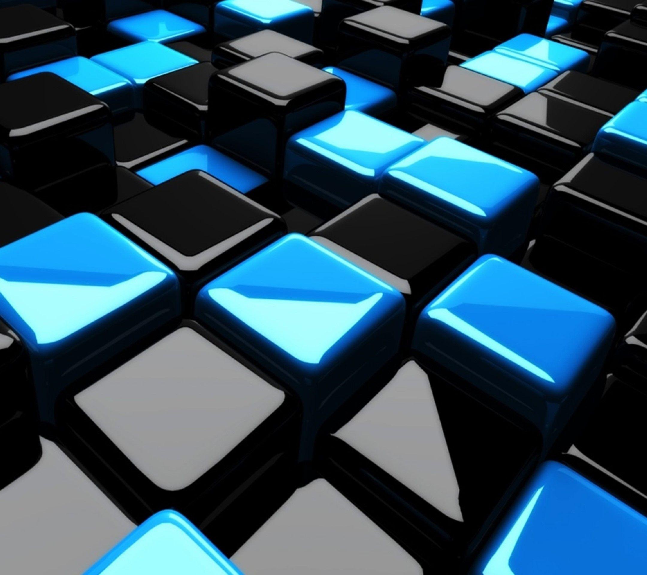 black n blue mobile wallpaper mobile9 3d geometric shapes