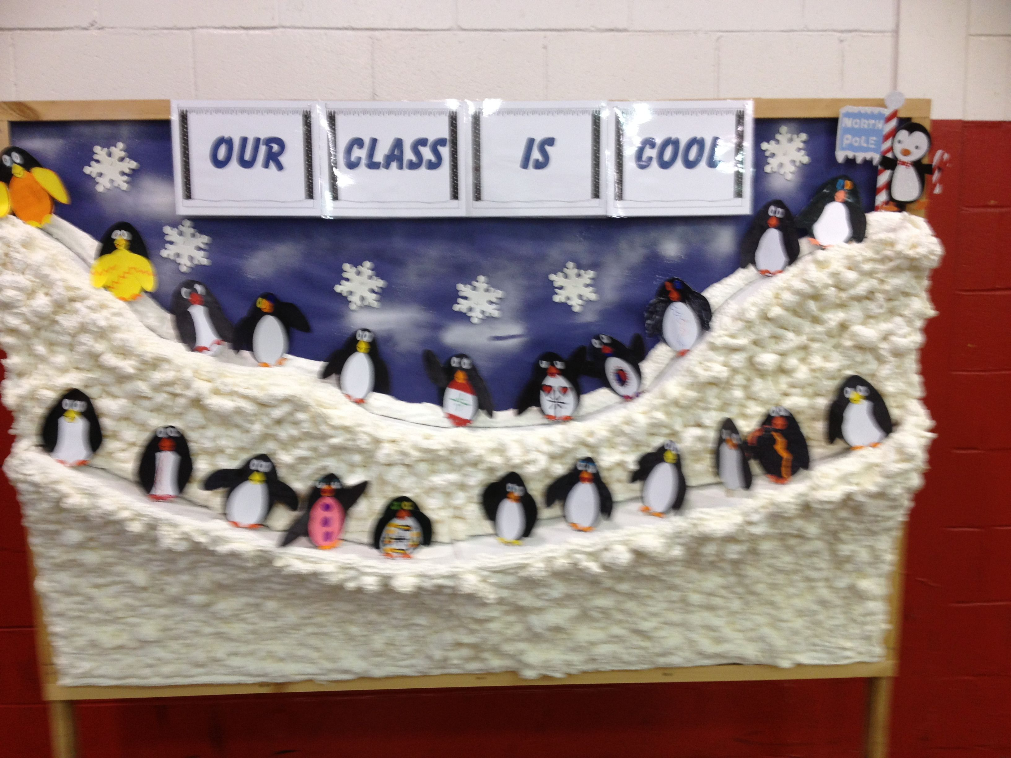 Winter Wonderland Preschool Classroom Decorations : Winter theme bulletin board penguins school stuff