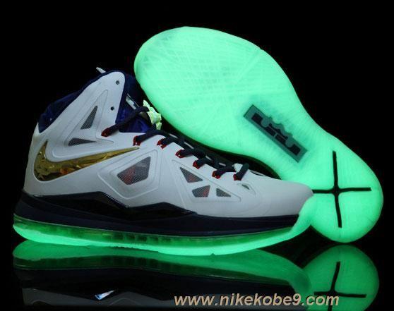 ef42d9fc8c9aa4 Nike Lebron X (10) White Navy Blue Gold Glow in the Dark Sole Sale ...