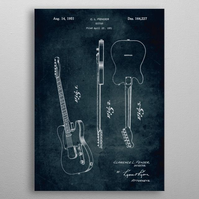 No023 1951 fender guitar by xavier vieira music musical instrument poster vintage blue print blueprint malvernweather Images