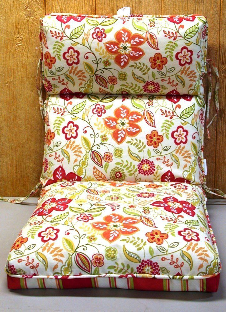 Amazon Com 6 Outdoor Patio Chair Cushions Pure Floral Red 20 5 X 42 X 5 New Ship Outdoor Patio Chair Cushions Patio Chair Cushions Outdoor Cushions