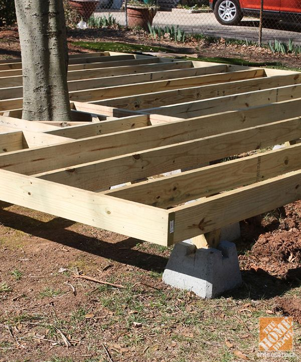 Tips And Ideas On How To Build A Floating Deck The Home Depot Building A Floating Deck Floating Deck Diy Deck