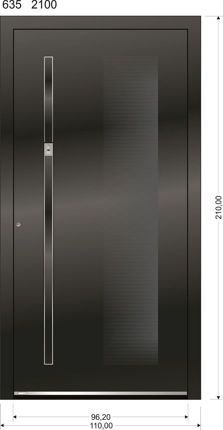 ausstellungsst ck aluminium haust r modell modell 635 au engriff onetouch 9623f esg glas. Black Bedroom Furniture Sets. Home Design Ideas