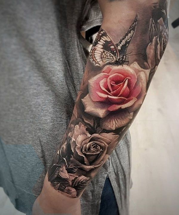 Photo of Rose und Schmetterling Tattoo  50 Magnolia Flower Tattoos Rose und Schmett  Rose…