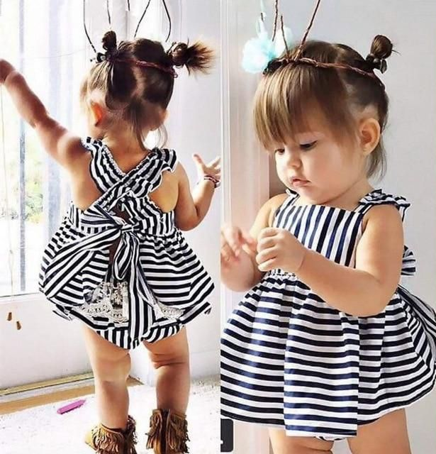 Luiza Striped Baby 2 Pc Crossed Back Dre - Hair Beauty