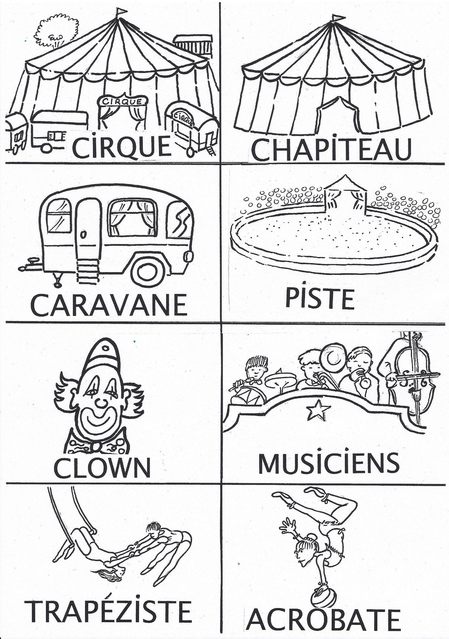 Coloriage Piste Cirque.Imagier Cirque Noir Et Blanc Everything Cirque Dessin