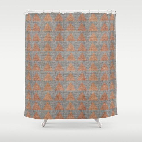 Fabric Shower Curtain Big Copper Rust Triangles On Neutral Gray