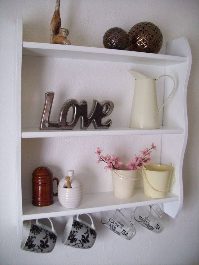 WHITE KITCHEN,BATHROOM,BOOKCASE SHELVES WITH CUP HOOKS