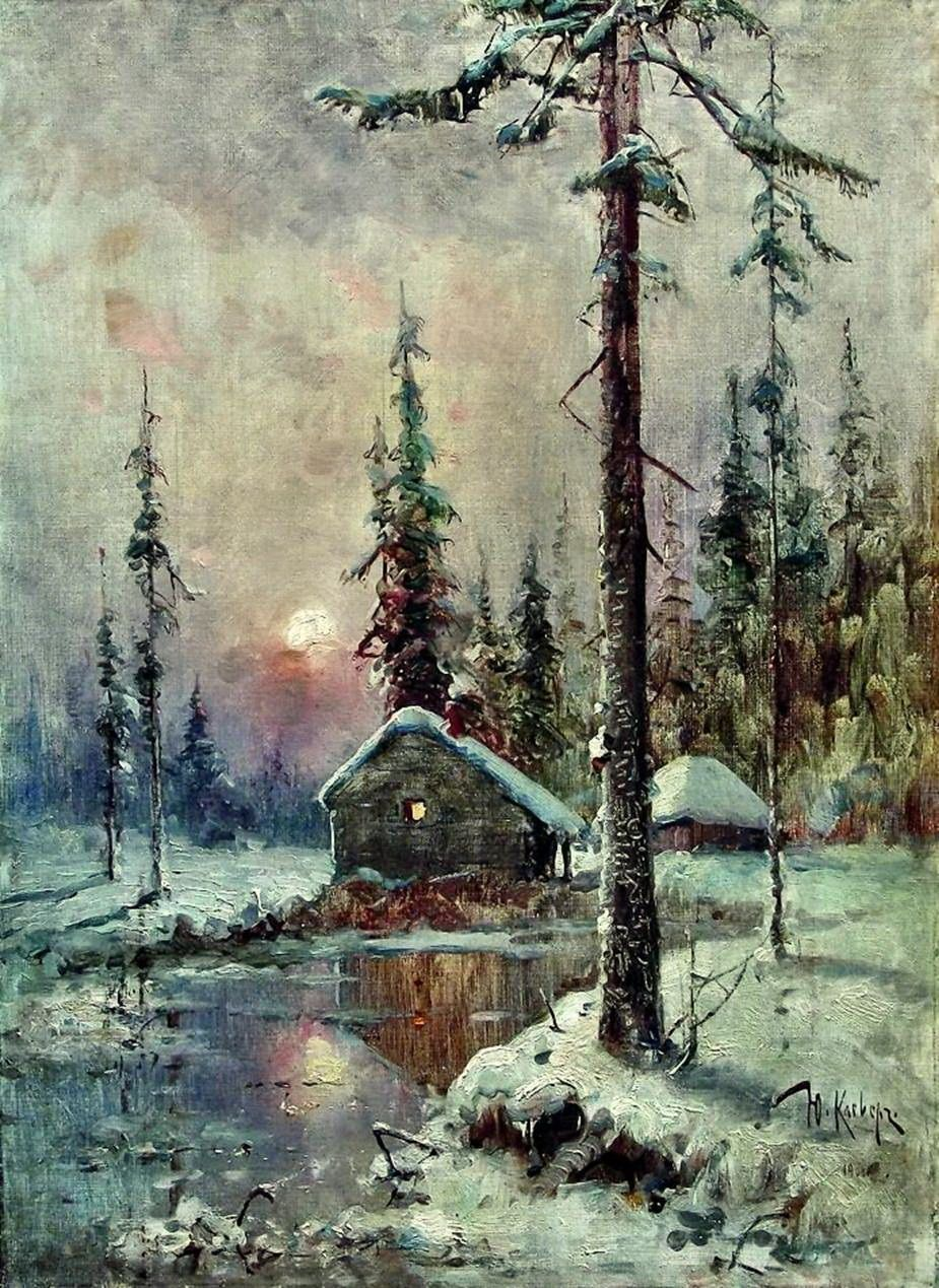 A Hut By The River Painting Julius Klever Oil Paintings Winter Painting Winter Landscape Landscape Paintings