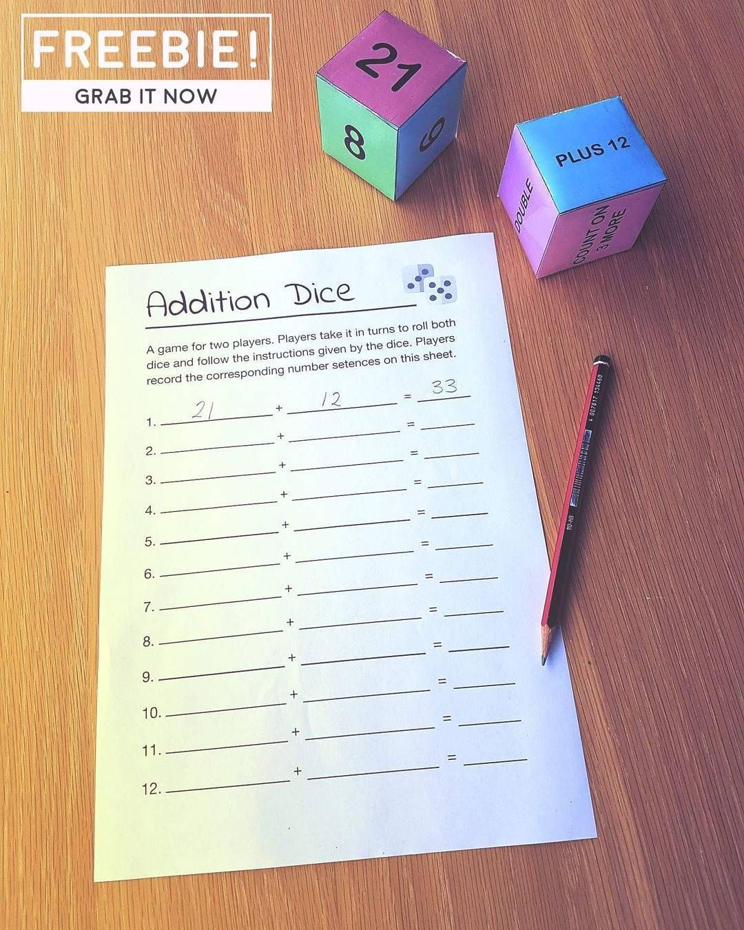 Free Addition Maths Vocabulary Dice Game With Images