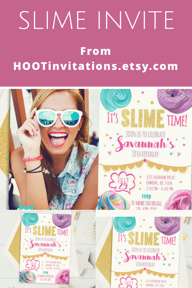 slime invitation for a slime birthday party from hootinvitations
