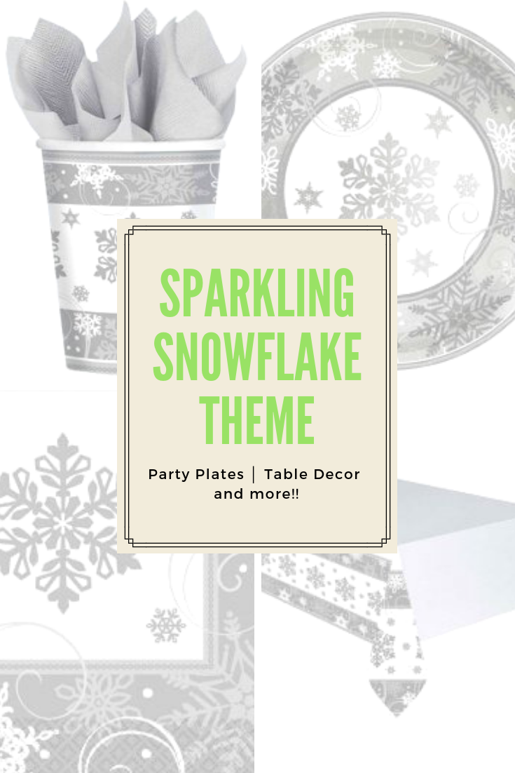 Sparkling Silver And White Snowflake Tableware And Decorations Including Snowflake Napkins S Christmas Tableware Snowflake Theme Party Winter Wonderland Party