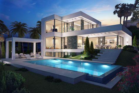 Moderne Häuser, Häuser Mit Pool, Modernes, Innenarchitektur, Wohnzimmer,  Einrichtung, Container Häuser, Luxus Villa, Pool Haus