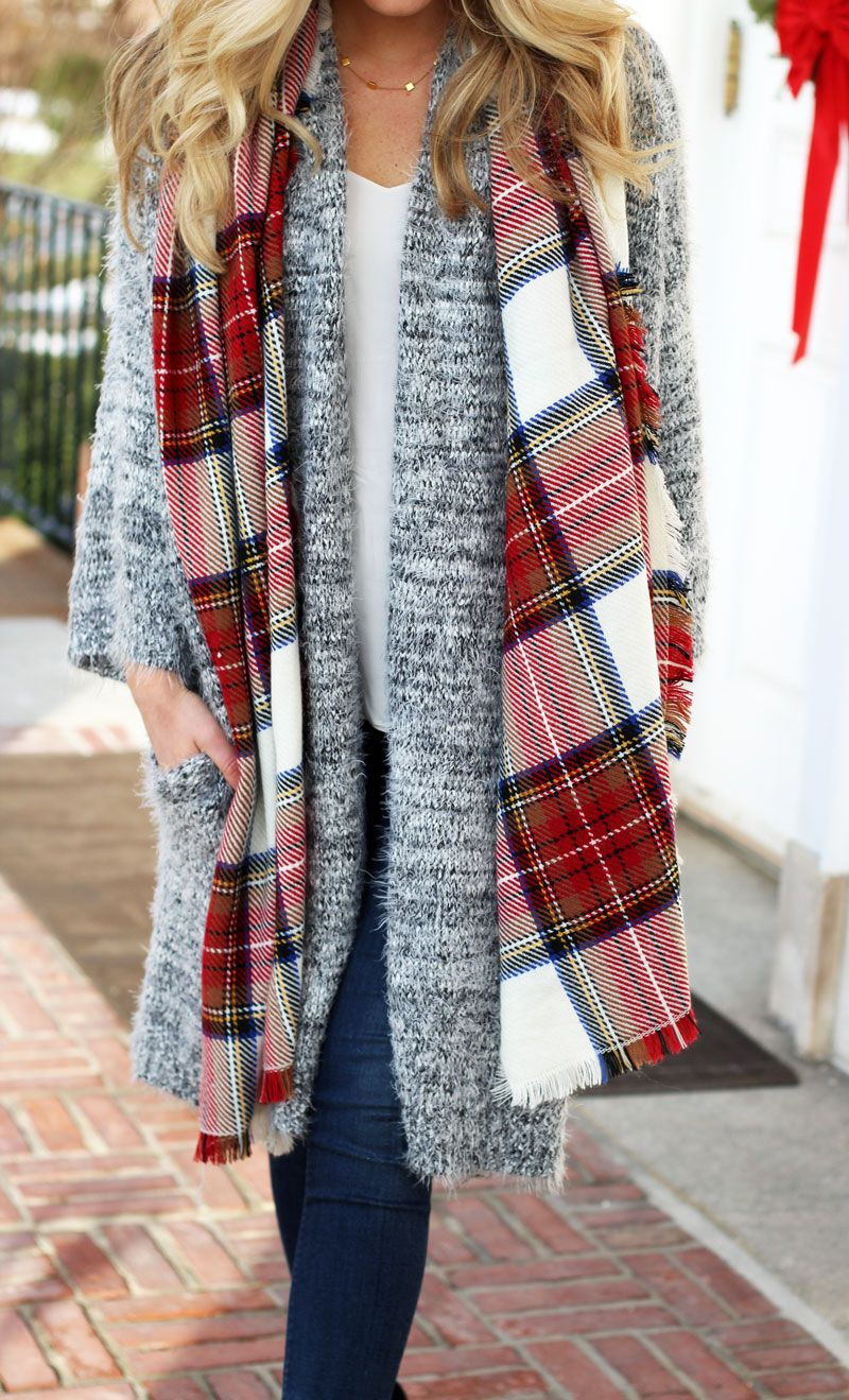 Nordstrom Leith Fuzzy Cardigan with Plaid Scarf and black Vince Camuto  Booties d0a32173d
