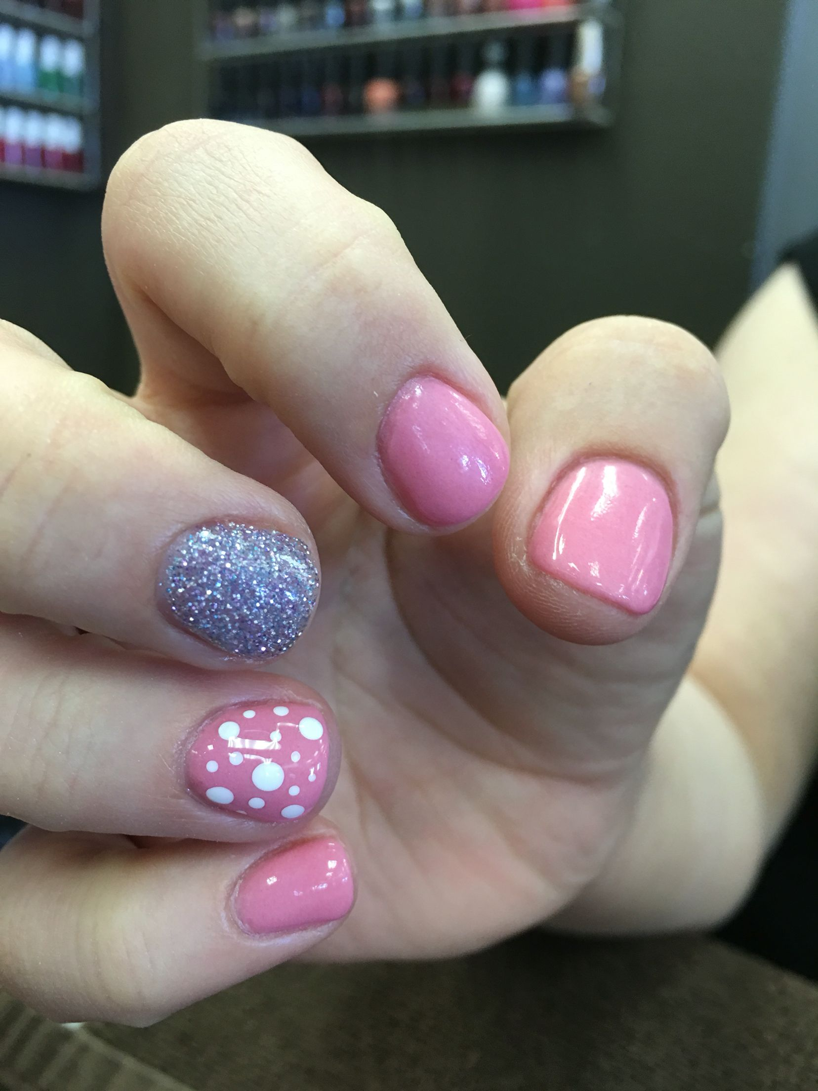 Nexgen dipping powder nails: pink and glitter with designs | More ...