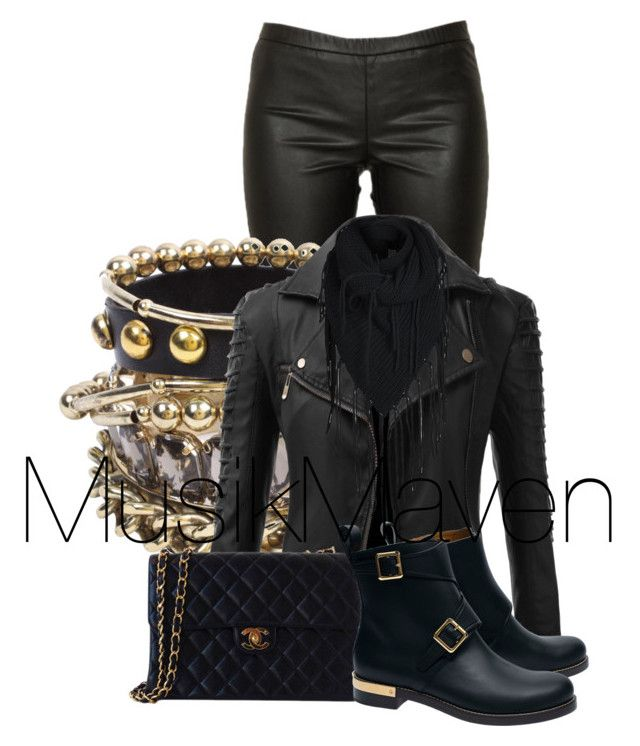 Gold 'n Leather by musikmaven on Polyvore featuring polyvore, fashion, style, Doublju, Michael Kors, Chloé, Chanel, ASOS, ONLY, clothing, blackandgold, leatherjacket, leatherpants and goldjewelry