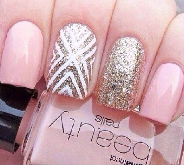 Whiter pink with gold glitter polish