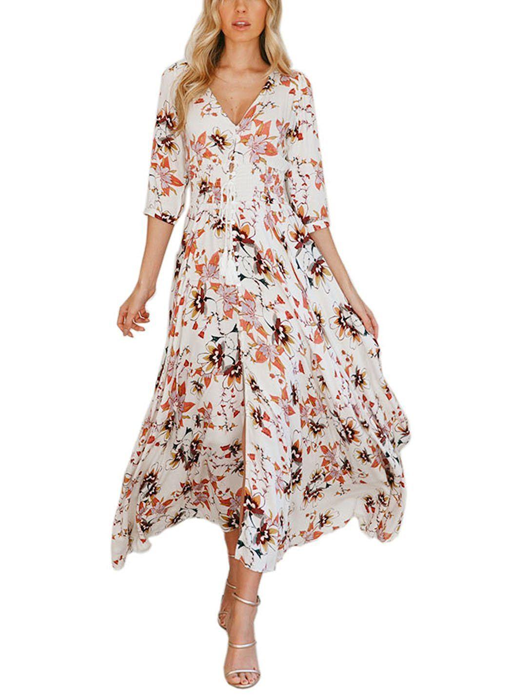 Fflmyuhuliu womenus elegant floral print long sleeve button up party