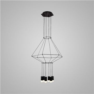 Suspension LED noir design   6 lumi¨res lampe pour bureau office