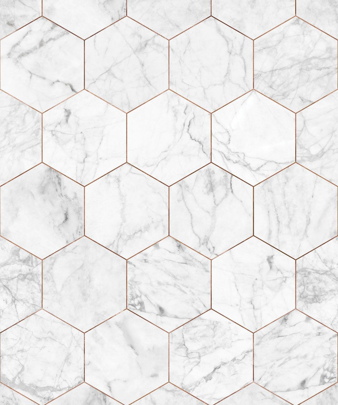 Marble & Copper Tiles Wallpaper • Crisp Marble Tiles #whitemarbleflooring