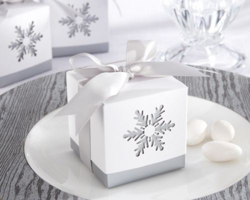 Winter Dreams Laser-Cut Snowflake Winter Wedding Bridal Shower Favor Boxes 24/pk - $21.50