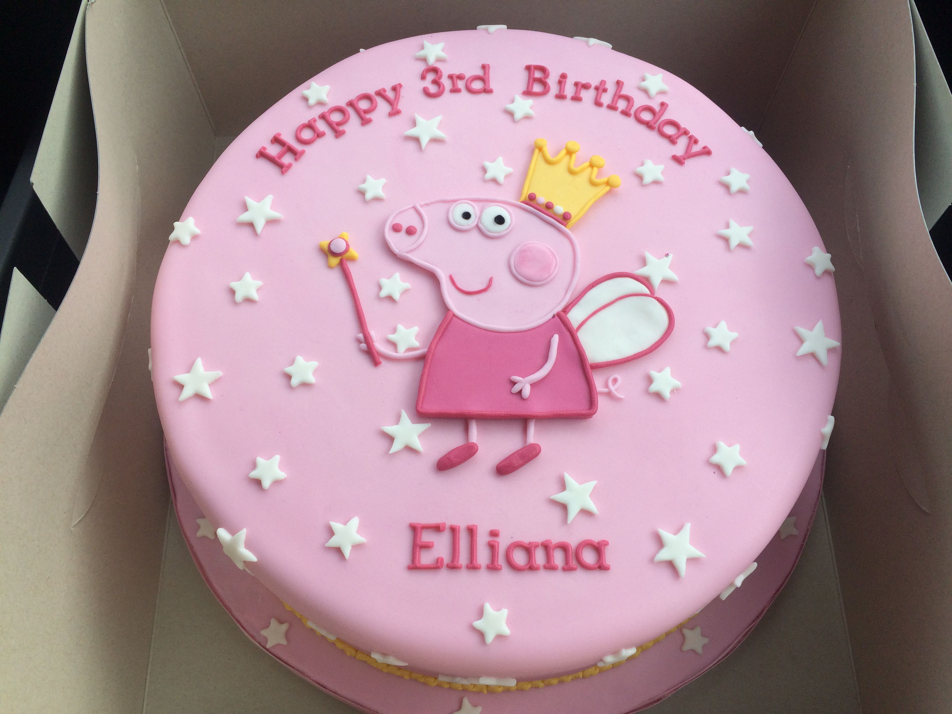 Peppa Pig Princess Theme Birthday Cake All Fondant Decorations Made Using A Template And Cut Out With Knife Not My Design Link Attached To Where
