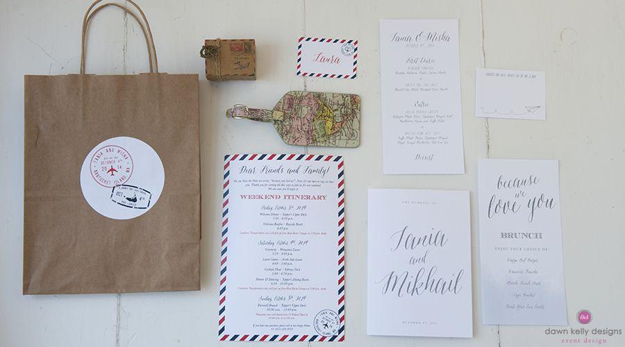 Custom Wedding Paper Suite for a Travel Inspired Nantucket Wedding Weekend | Dawn Kelly Designs www.dawnkellydesigns.com #nantucket #dkd