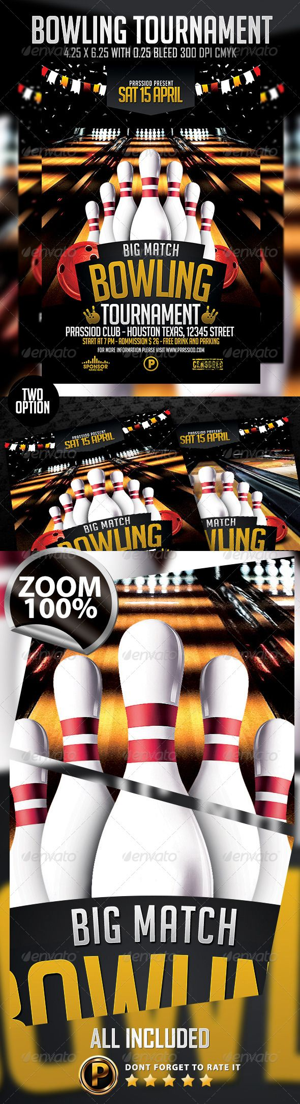Bowling Tournament Flyer Template  Flyer Template Template And Fonts