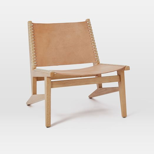 Commune Leather Sling Chair by West Elm Leather lounge