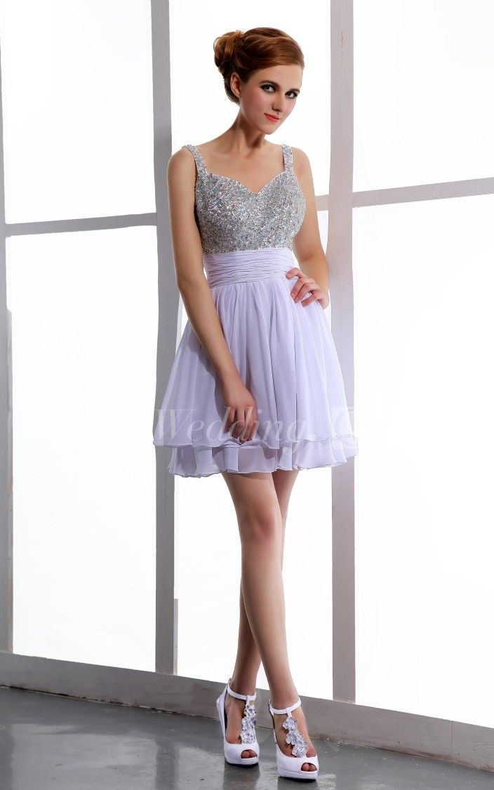 Chic chiffon layered dress with beaded top sweet dresses
