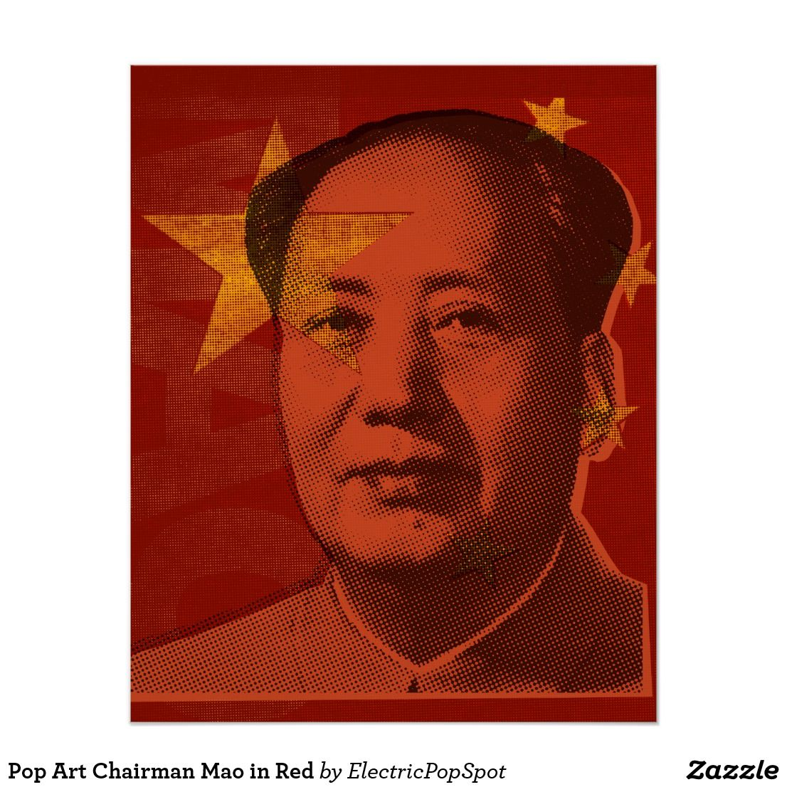 Pop Art Chairman Mao In Red Poster Zazzle Com Pop Art Design Art Design Art
