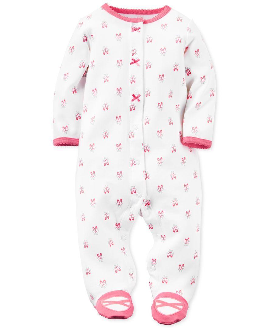 edd190000 Carter s Baby Girls  1-Pc. Ballerina-Print Footed Pajamas