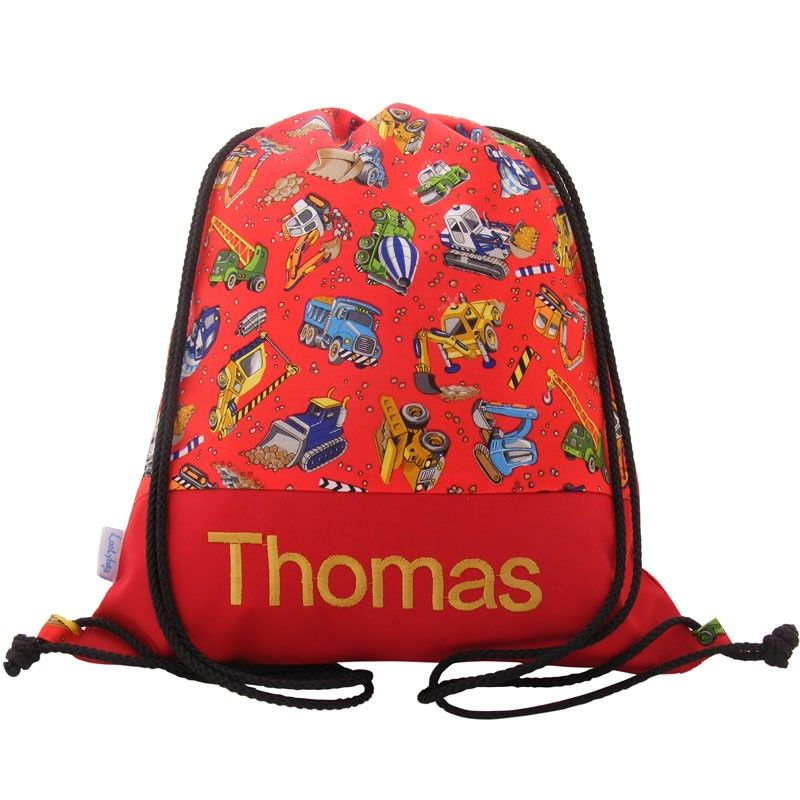 Personalised swim bag, backpack, nursery bag - Diggers | Swim Bags ...