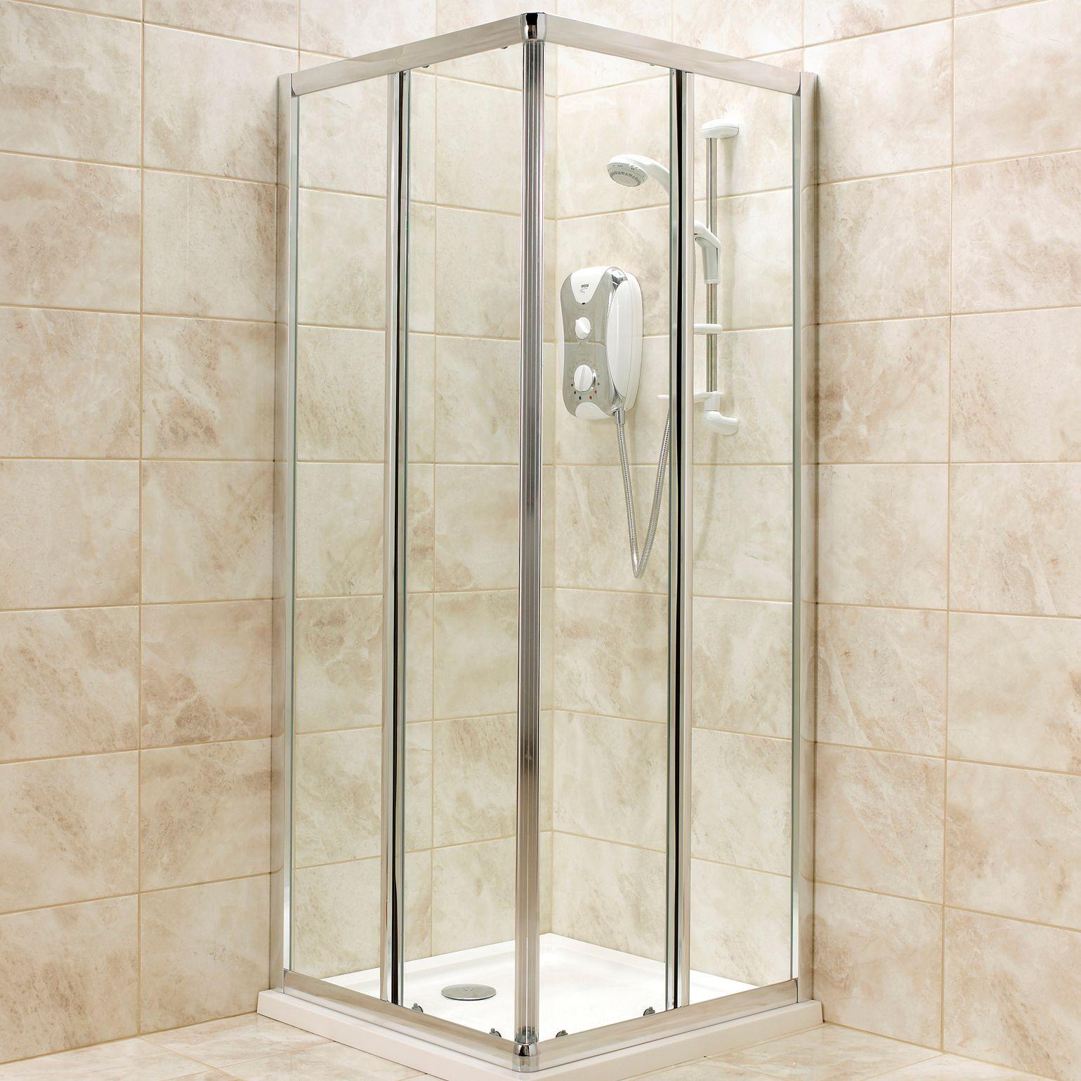 Square Corner Entry Shower Enclosure W 760mm D 760mm Rooms Diy At B Q Square Shower Enclosures Shower Enclosure Double Sliding Doors