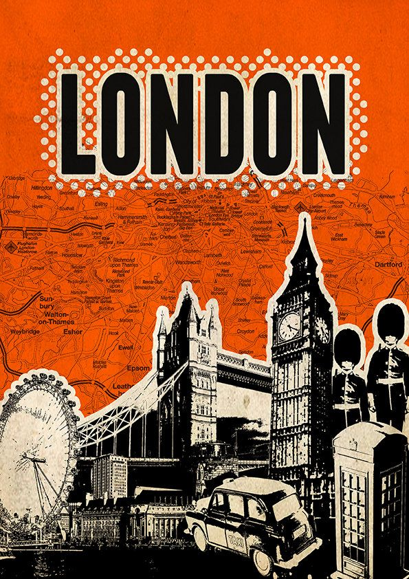 Canvas London Poster print Cityscape artwork Mixed Media art on canvas Handmade Wall Decor typography print. $30.00, via Etsy.