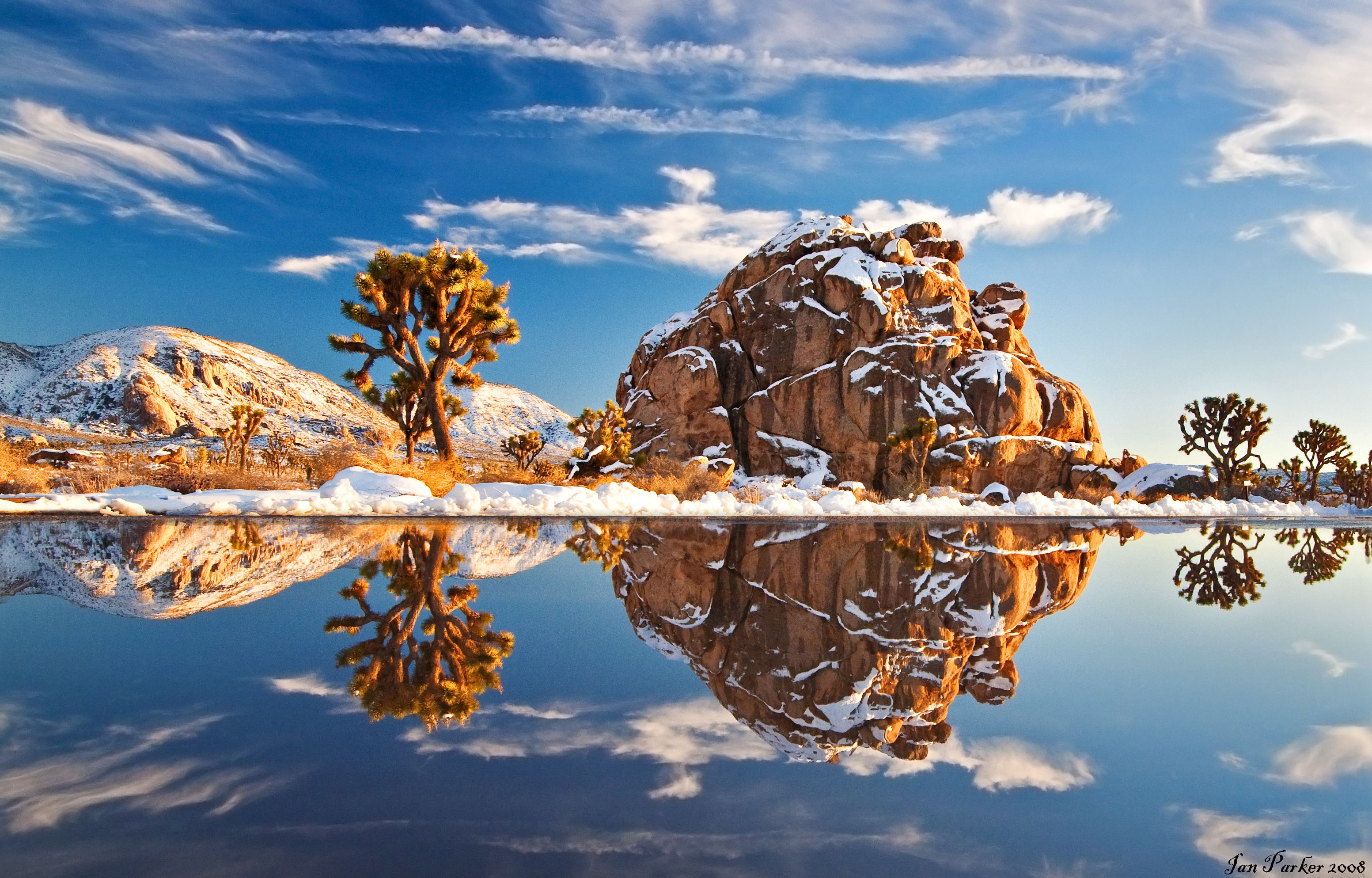 Reflections In Meltwater From The Heaviest Winter Snowfall